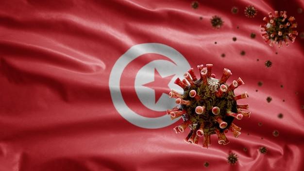 3d, drapeau tunisien agité avec une épidémie de coronavirus infectant le système respiratoire comme une grippe dangereuse. virus de la grippe de type covid 19 avec fond de soufflage de modèle national de tunisie.