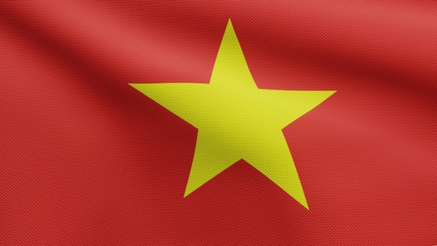 3d, drapeau vietnamien ondulant sur le vent. gros plan sur la bannière vietnamienne soufflant, soie douce et lisse. fond d'enseigne de texture de tissu de tissu.