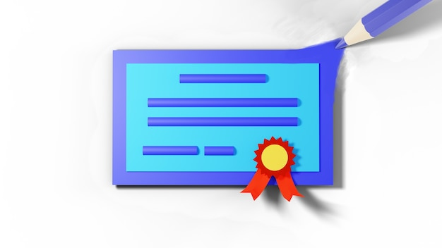 3d du certificat de diplôme de dessin au crayon de couleur sur une surface blanche