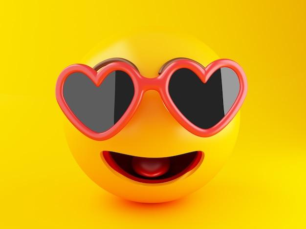 3d emoji avec des lunettes de soleil. concept de vacances d'été