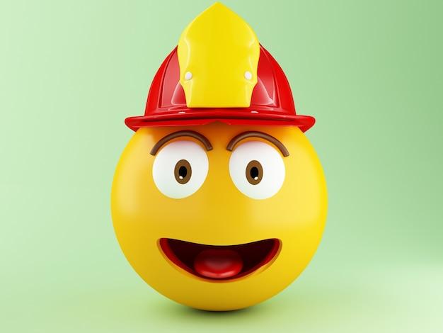 3d emoji pompier avec helment
