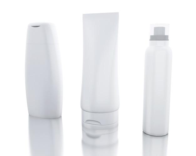 3d ensemble de bouteilles cosmétiques. gabarit pour simuler votre conception