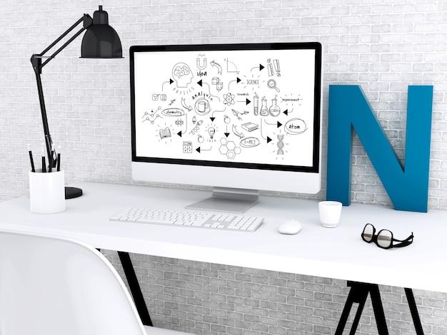 3d espace de travail moderne et ordinateur avec croquis de chimie