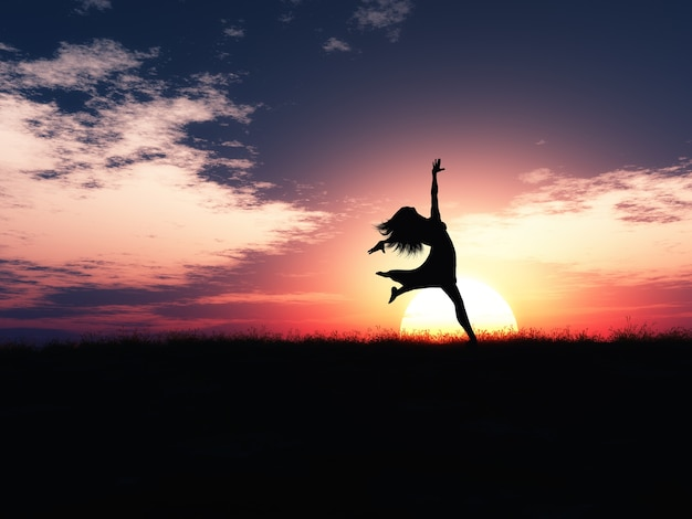 3d femme sautant de joie contre un paysage coucher de soleil