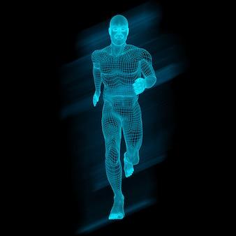 3d figure masculine dans la pose en cours d'exécution avec la conception de wireframe