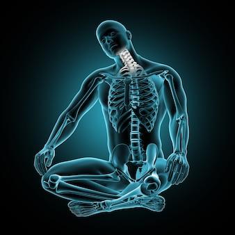 3d figure médicale masculine avec des os du cou mis en évidence