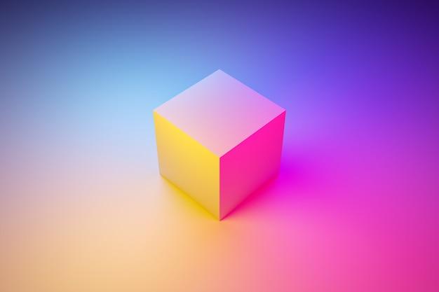 3d une figure volumétrique géométrique d'un cube avec une ombre