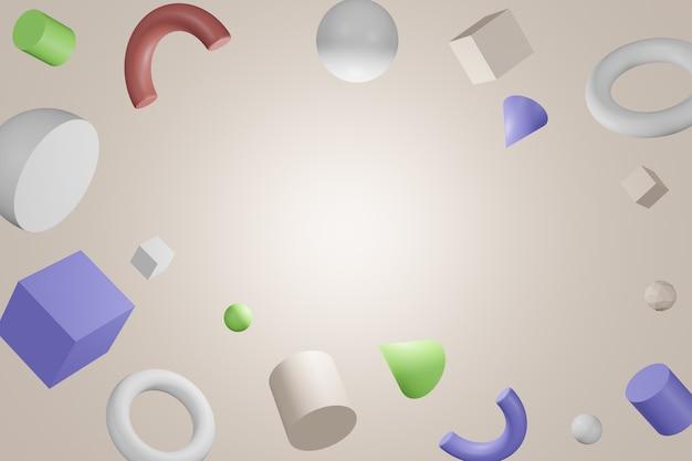 3d formes géométriques colorées abstraites sur fond de couleur blanche.