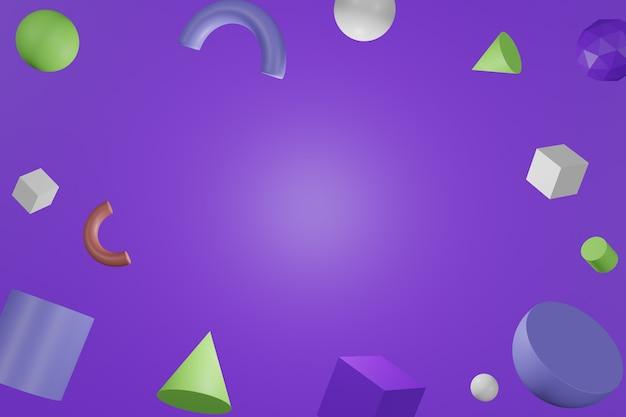 3d formes géométriques colorées abstraites sur fond de couleur pourpre.