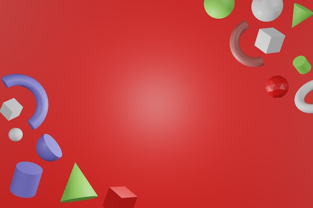 3d formes géométriques colorées abstraites sur fond de couleur rouge.