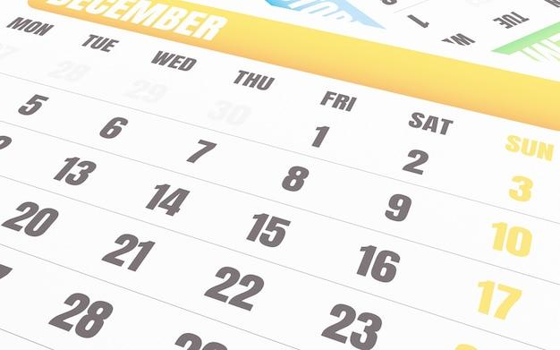 3d gros plan du calendrier de décembre