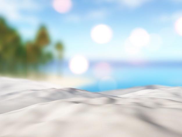 3d gros plan de sable contre un paysage d'île de palmier défocalisé