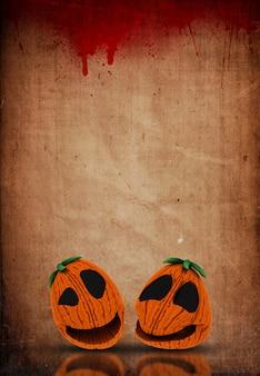 3d halloween jack o lanternes sur un fond de papier éclaboussé de sang grunge