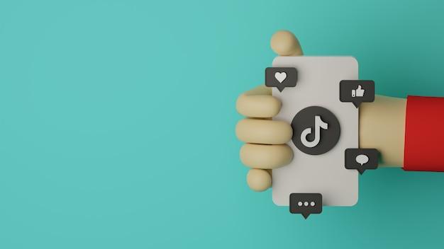 3d hand holding mobile phone avec logo tiktok rendu l'arrière-plan pour le concept marketing