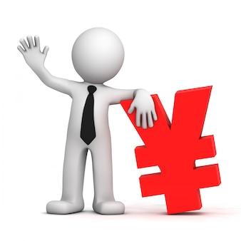 3d, homme affaires, à, euro, monnaie, symbole