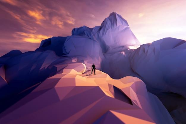 3d homme d'affaires illustration debout sur le bord de la falaise et en regardant du côté opposé.
