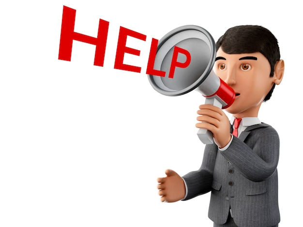 3d homme d'affaires avec un mégaphone et mot aide.