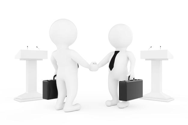 3d, homme affaires, ou, politiciens, caractères, serrer main, près, tribunes, sur, a, blanc, arrière-plan. rendu 3d