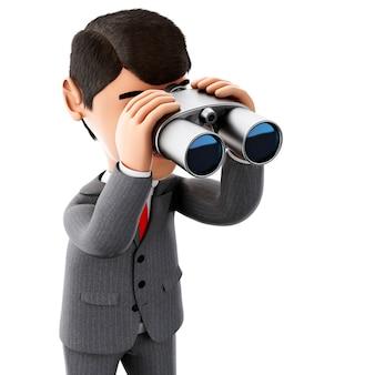 3d homme d'affaires regardant à travers des jumelles.