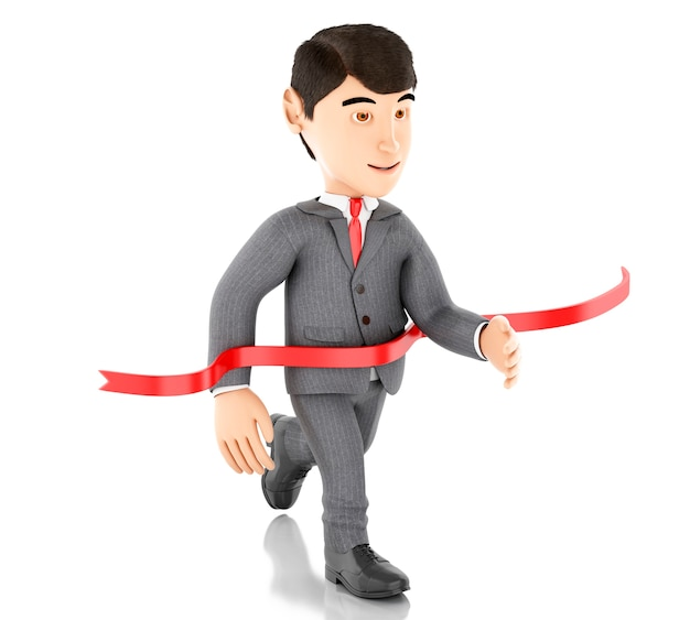 3d homme d'affaires traversant la ligne d'arrivée. concept de réussite