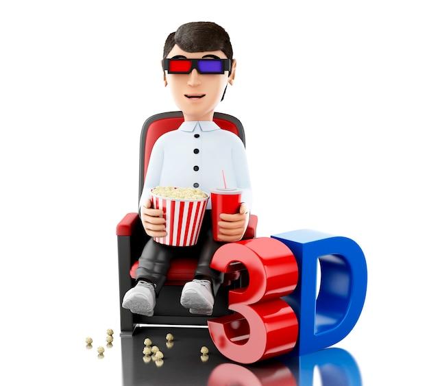 3d homme au cinéma et manger du pop-corn avec des lunettes 3d.