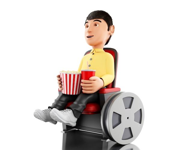 3d homme au cinéma et manger du pop-corn.