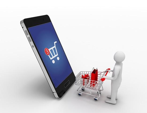 3d homme avec panier et concept de shopping smartphone.online. illustration 3d