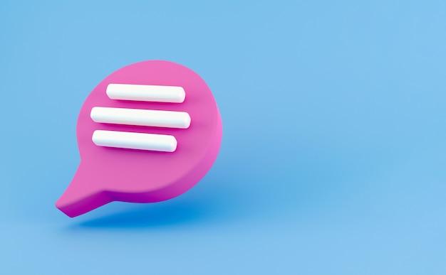 3d icône de chat bulle discours rose isolé sur fond bleu. concept créatif de message avec espace de copie pour le texte. symbole de chat de communication ou de commentaire. notion de minimalisme. rendu d'illustration 3d