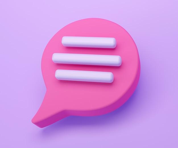 3d icône de chat bulle discours rose isolé sur fond violet. concept créatif de message avec espace de copie pour le texte. symbole de chat de communication ou de commentaire. notion de minimalisme. rendu d'illustration 3d