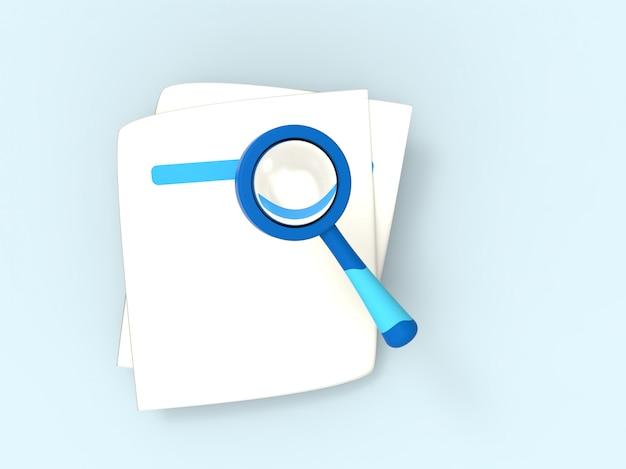 3d illustratiom recherche en ligne loupe, trouver et découvrir le concept. minimalisme. rendu 3d