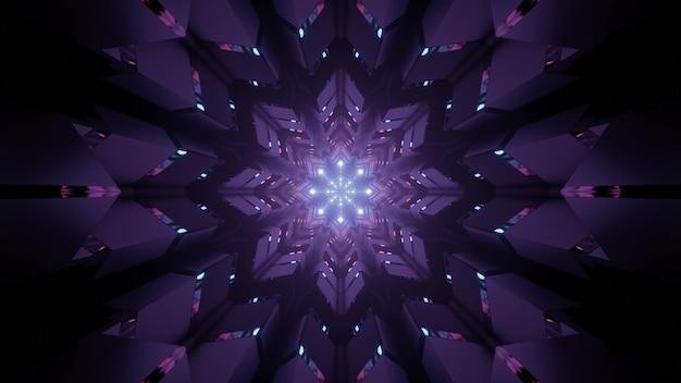 3d illustration art abstrait visuel arrière-plan avec fleur géométrique brillant en forme d'ornement violet néon et scintille comme intérieur du tunnel futuriste