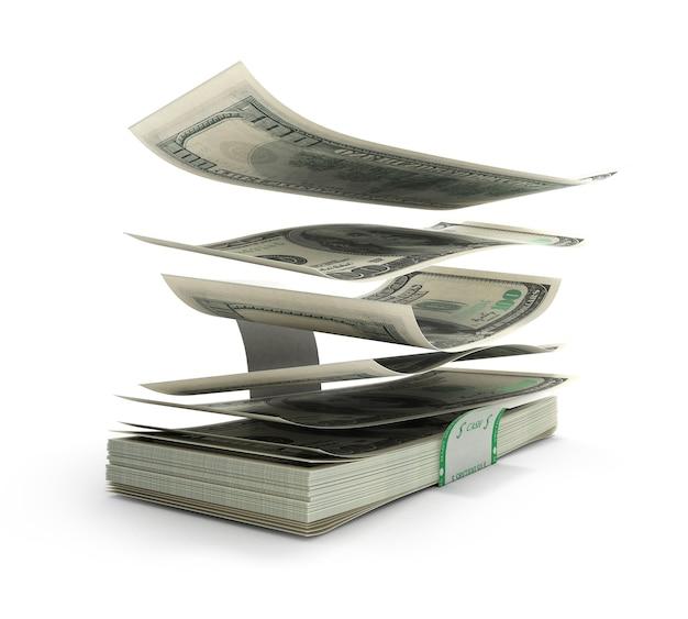 3d illustration de billets d'un dollar volant hors de la pile avec un lect déchiré sont isolés sur fond blanc