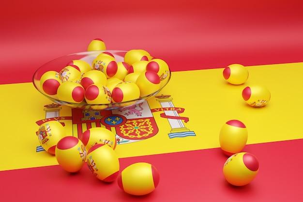 3d illustration de boules avec l'image du drapeau national de l'espagne