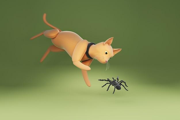 3d illustration chat regardant araignée