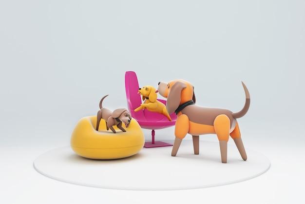 3d illustration d'un chien assis sur une chaise