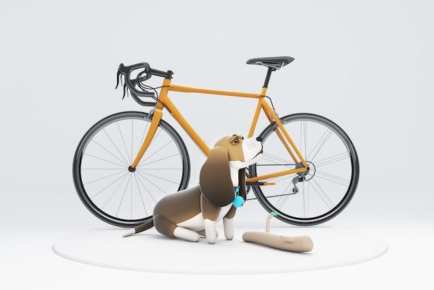 3d illustration d'un chien assis à côté d'un vélo