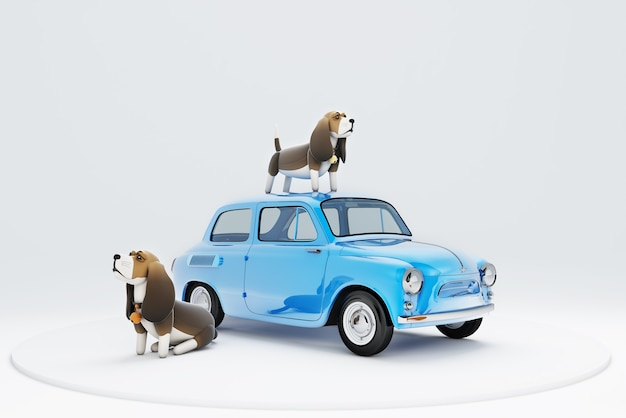 3d illustration d'un chien assis sur le toit de la voiture