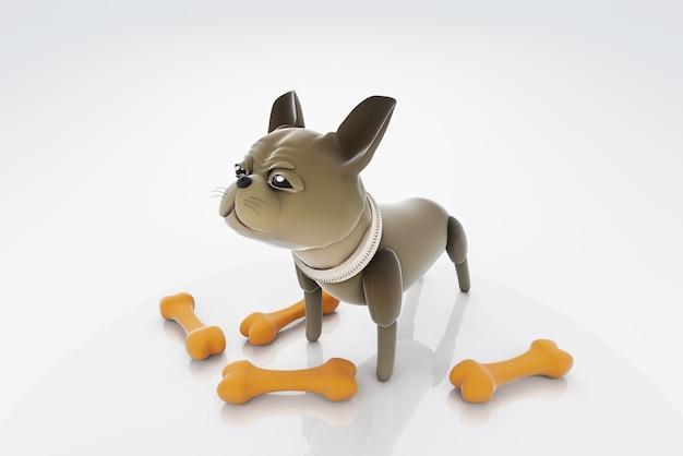 3d illustration chien debout regardant l'os