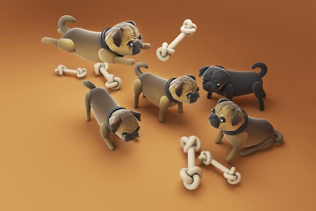 3d illustration chien jouant de faux os