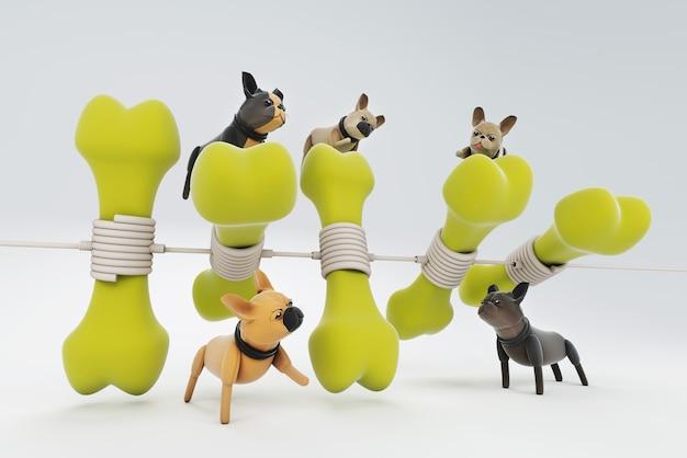 3d illustration chien jouant avec de gros os