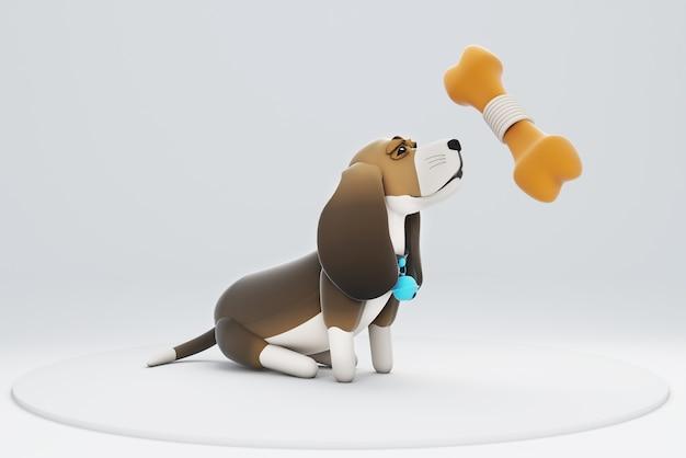 3d illustration d'un chien regardant un gros os