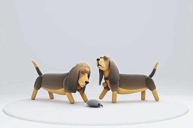 3d illustration d'un chien à la tique