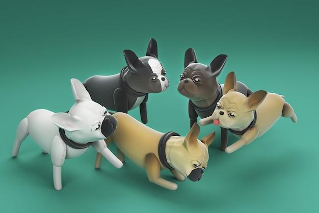 3d illustration chiens jouant