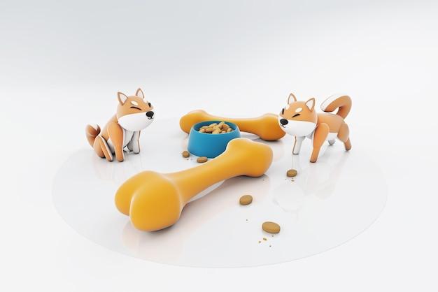 3d illustration de chiens mangeant des os