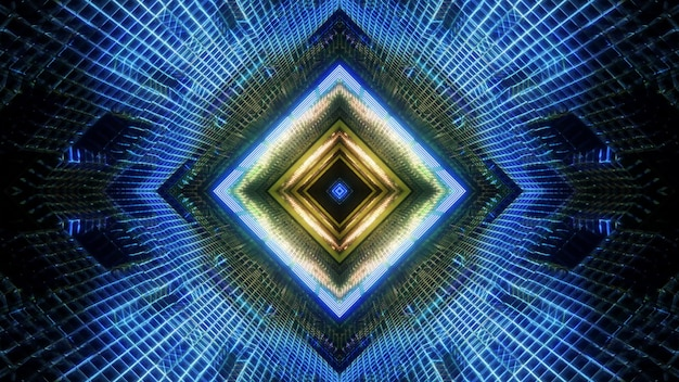 3d illustration conception d'arrière-plan visuel du couloir de science-fiction en forme de carré géométrique abstrait avec éclairage lumineux