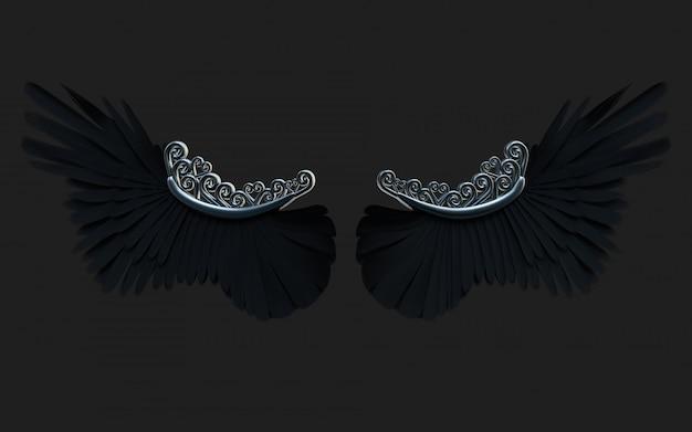 3d illustration demon wings, black wing plumage isolé sur fond noir avec un tracé de détourage.