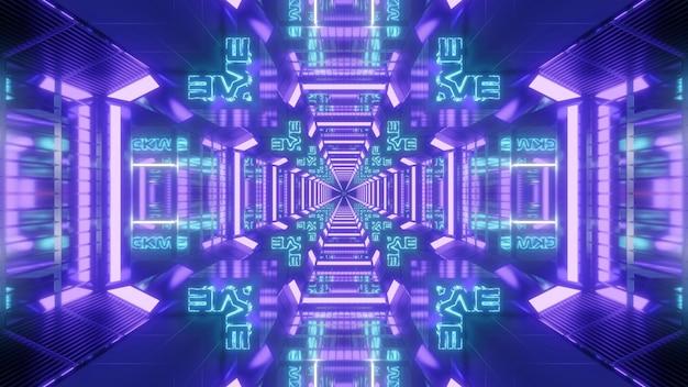 3d illustration du tunnel de science-fiction en forme de croix colorée néon lumineux avec effet de réflexion pour la conception de fond de concept de technologie futuriste