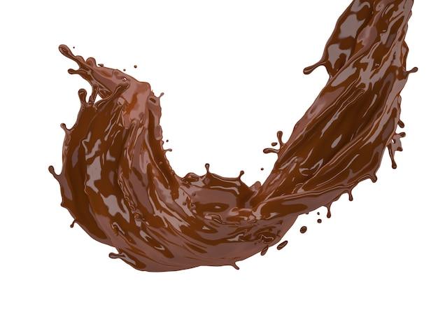 3d illustration d'éclaboussure de chocolat sur fond blanc avec un tracé de détourage