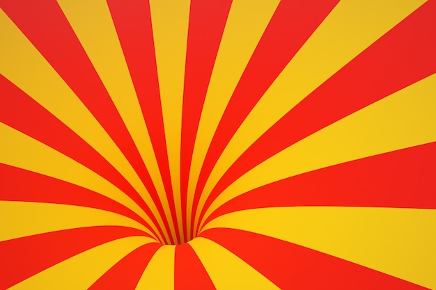 3d illustration entonnoir jaune-rouge. abstrait coloré rayé.