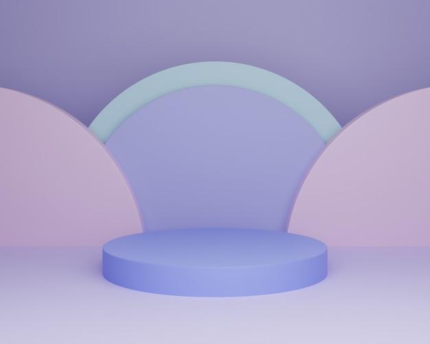 3d illustration fond coloré simple minimaliste bleu